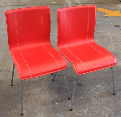 Red Leather Dining Chairs - Lot of 2