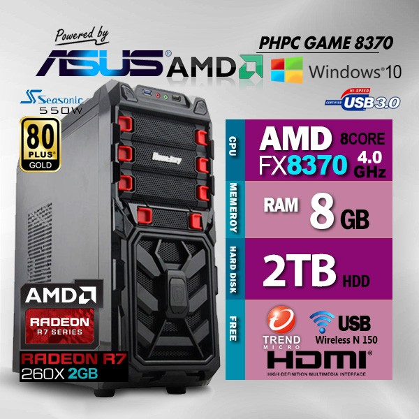 PHPC Gaming FX 8370 8GB RAM 2TB HDD with Free Ant Virus & WiFi & Bluetooth  - with Warranty