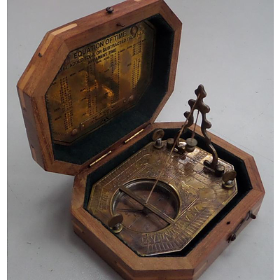 Amex Car Buying >> Brass Sundial Compass In Wooden - Lot 742972   ALLBIDS