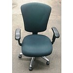 Green Fabric Office Chairs - Lot of 6