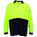 Super Safety Micromesh Polo LS Shirt - Yellow / Navy Xlarge - RRP $33.00 - Brand New