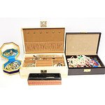 Four Jewellery Boxes and Various Costume Jewellery