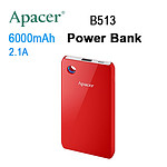 Apacer Mobile Power Bank B513 6000mAh Red RP - with Warranty