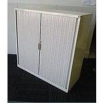 Beige Metal Tambour Storage Cabinet